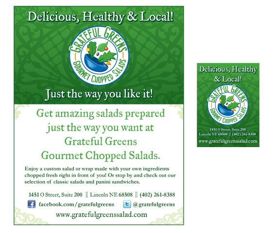 Grateful Greens restaurant ads