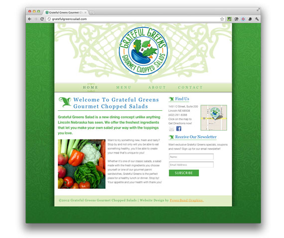 Grateful Greens restaurant website